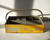 Vintage Industrial Painted Metal Tool Tote / Divided Galvanized Metal Bin with Handle / Handmade Homemade / Rusty Distressed Worn Loved