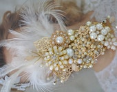 Heirloom Bridal Gold hair Clip, Bridal hair clip with Pearl and Rhinestones and Crystals, Gold Feather fascinator,Bridal headpiece with gold