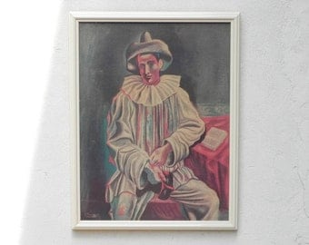 "Framed Picasso ""Pierrot"" Print on Textured Board Wall Hanging"