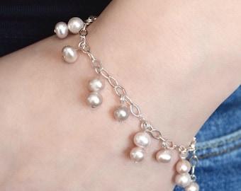 Pink freshwater pearl bracelet sterling silver, bridal bracelet
