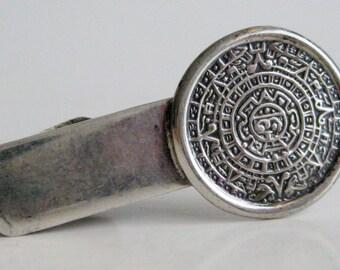 Vintage 60s Mayan Calendar Sterling Silver Mexican Taxco Tie Clip