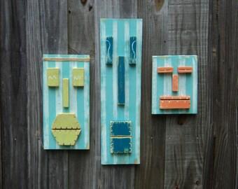 "Tiki Set ""BEACH PICNIC"", Tropical Wall Art, Weathered Style Tiki Masks, Wood Sculpture,Island Decor, Tiki Man"