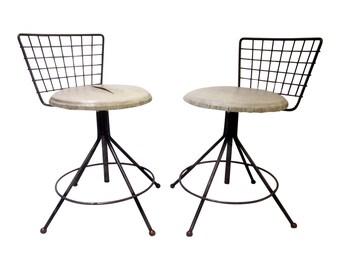 Modernist Vintage Iconic 1950s Mid Century Modern Pair Industrial Swivel Vanity Stool Chair Eames Era Bertoia Patio  furniture