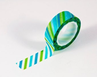 Washi Tape - Blue and Green Stripes