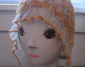 Vintage Point D'esprit Flapper Lace Night Cap Hat Crochet Lace Boudoir