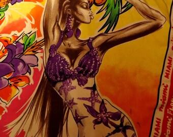 """Rare Versace  """"Miami Girls"""" Silk Scarf"""