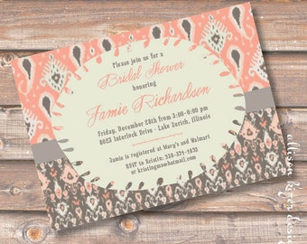Tribal Salmon and Gray Ikat Printable Invitation Bridal Shower Invite Printable Peach and Warm Grey Taupe Baby Shower Indie Boho Hipster