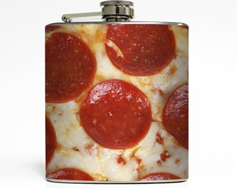 Pepperoni Pizza Whiskey Flask Pepperoni and Cheese Pie Trendy Nom Nom Hangry Foodie Gift Stainless Steel 6 oz Liquor Hip Flask LC-1530