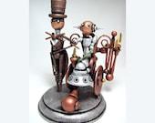 Wheelchair Wedding Cake Topper Steampunk Robot Bride and Groom Wood Sculpture