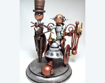 Wheelchair Wedding Cake Topper Steampunk Robot Bride and Groom Wood Sculpture