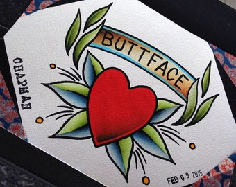 Buttface Tattoo Flash Valentine