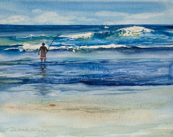 La Jolla Fisherman, Watercolor Print, Seascape, Beach, Wave, Coast, Fishing, California