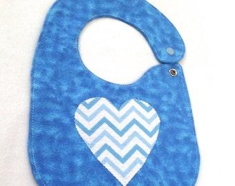 Blue  light blue white chevron Flannel bib