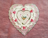 Large Valentine Heart Card ~Antique with Layered Paper Lace