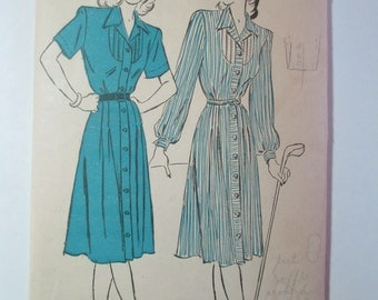 "Antique 1940's Advance Dress Pattern #4572 - size 34"" Bust"