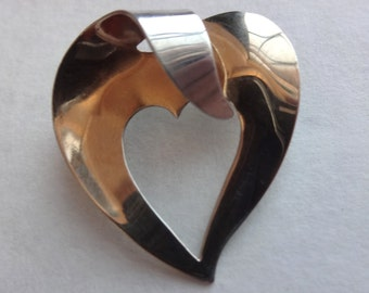 Sterling & Gold Wash Heart Brooch