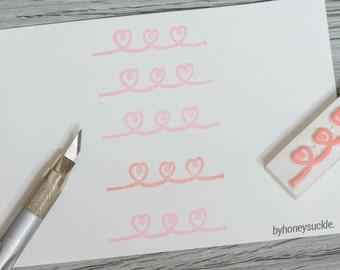 heart divider stamp, wire heart stamp, valentine's day stamp, love card, diy valentines's day present, for him stamp, pink rubber stamp