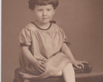 Vintage Photo - Sweet Little Girl on a Bench - Vintage Photograph, Snapshot (PPP)