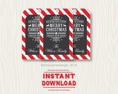 Editable Christmas Gift Tags, Chalkboard style, instant download, with editable and changeable text.