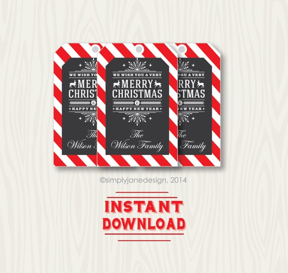 Editable Christmas Gift Tags, Chalkboard style, instant download, with ...