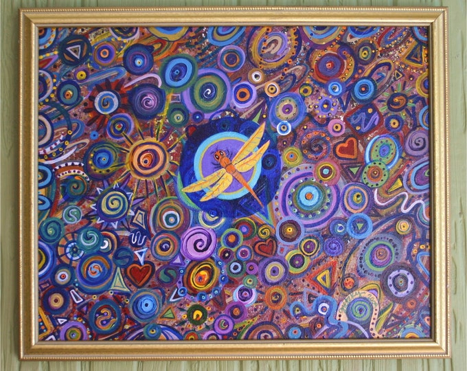 Dragonfly and Circles Original Painting