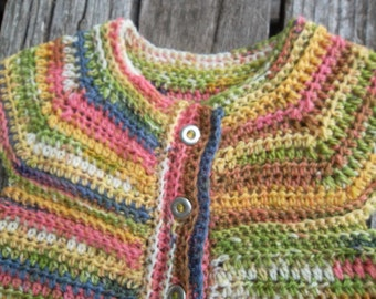 Spring Summer Toddler Girl Crochet Sweater, 12-18 Month Baby Girl Sweater, Crochet Baby Sweater, Pink Yellow Mix, Multi Colored Baby Sweater
