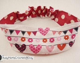 Handmade women's reversible hearts and polka dots fabric headband,  adult size