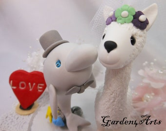 NEW--Custom Wedding Cake Topper--dolphin and llama Love with sweet kiss and circle clear base