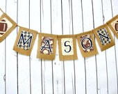 Burlap CUSTOM NAME Banner, Baby Shower Decoration and Nursery Decor, Vintage Footbal Sports Theme