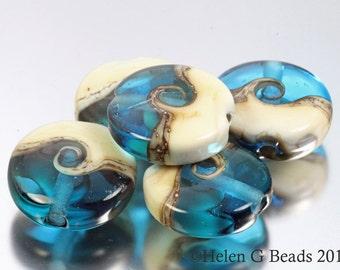 Turquoise and Cream Coast to Coast Seaside Style Set of 5 Beads by Helen Gorick