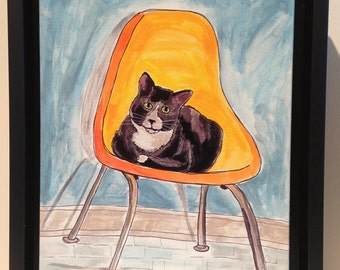 6.75 x 9 inch framed photo on canvas mixed media cat on a mid century chair