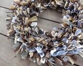 """Camo Rag Wreath 15"""", Camouflage Door Hanger, Woodgrain Brown and Tan, Handmade in NJ"""