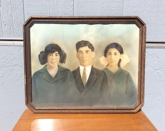 Antique Photo Family Portrait in Original Frame Hand Color Tinted