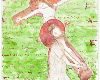 Loss of wife, loss of husband, grief gift. Modern Crucifixion (crucified couple). Set of two giclee prints by Ina Mar, modern Christian icon