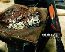Ezi Zino handmade Mickey Mouse Skull Solid Sterling Silver 925 Ring ALL SIZE