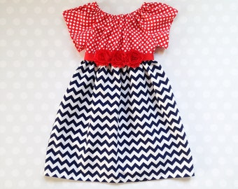 Red White and Blue Chevron Fourth of July Dress - Patriotic Dress - 4th of July Dress - 4th of July - Girls Dresses
