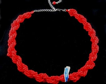 Old Stock ITALY Red Glass Seed Bead Torsade Necklace with LABELS-Vintage