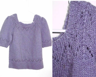 purple sweater short sleeve hand knitted 1980's