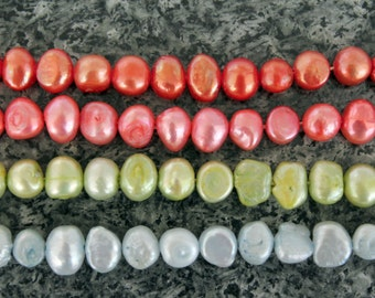 14 Inch Strand of Colored Baroque Freshwater Pearls 5x7mm