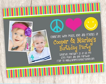 70's Groovy Combined Birthday Photo Invitation, Hippie Party Invite, Joint Dual Birthday - DIY Printable || A Pair of Peace. Love. Smiles.
