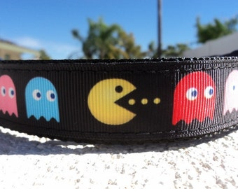 "Sale Pac Man Dog Collar 1"" Quick Release buckle or Martingale collar adjustable - S- XL / no 3/4"" collars in this ribbon"