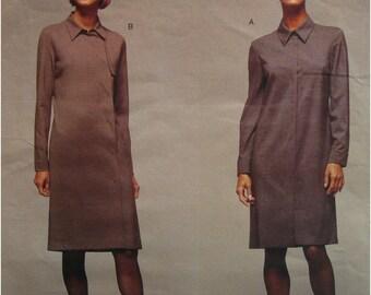 Calvin Klein Dress Pattern, Concealed Front Closure, Long Sleeves, Vogue American Designer 2386 Cut Size 6 8 10 OR UNCUT Size 18 20 22