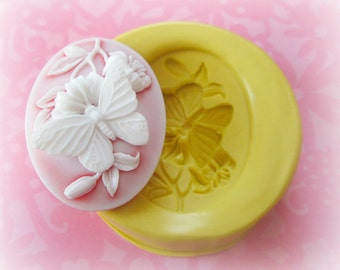 Butterfly Cameo Mold Fondant PMC Clay Wax Resin Polymer Clay Cabochon Mold