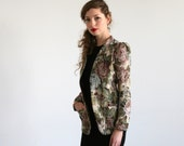 Clearance SALE /Women jacket size 6US /  Floral Tapestry Jacket /french  Floral Blazer / Embroidery coat/  Bohemian jacket