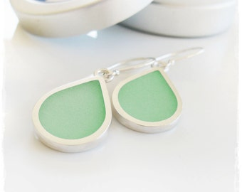 Sterling Silver Teardrop Bezel Earrings with Pale Lime Green Resin. Lime Resin and Silver Drops.