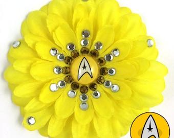 Star Trek Command Yellow Penny Blossom Rhinestone Flower Barrette