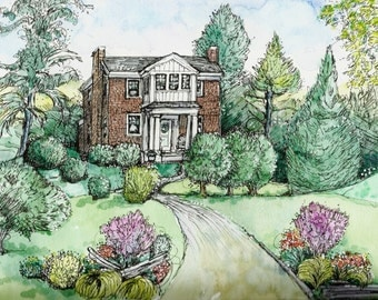 House Portraits in Pen/Ink and Watercolor, Custom Original Painting of Your home by Patty Fleckenstein,Paper Anniversary Gift.OOAK