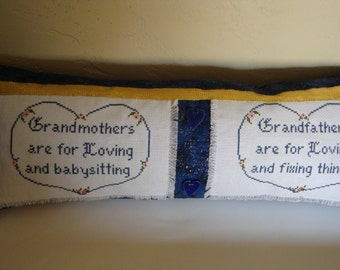 Grandparent pillow, honoring grandma and grandpa, cross stitched pillow with tribute to grandparents, cross stitch pillow