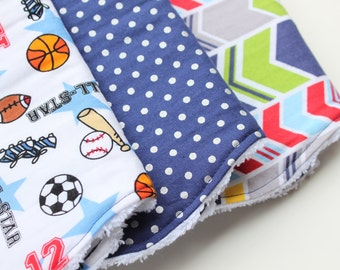 Boutique Baby Boy Burp Cloth Set - Set of Three Chenille Burp Rags - Sports, Herringbone Chevron, Navy Blue and Silver Polka Dots -Baby Gift