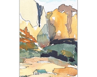 Watercolor Painting, Landscape, Watercolor and Ink Painting,Utah Mountain, Nature Art